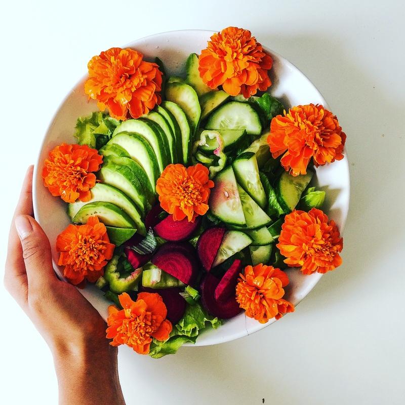 Avokádový šalát s jedlými kvetmi